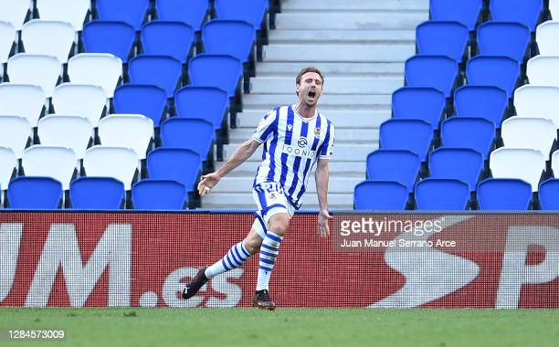 Nacho Monreal of Real Sociedad celebrates after scoring his team's first goal during the La Liga Santander match between Real Sociedad and Granada CF...