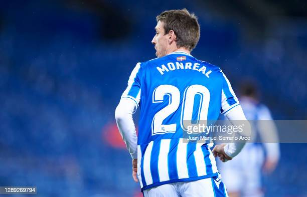 Nacho Monreal of Real Sociedad celebrates after scoring his team's second goal during the UEFA Europa League Group F stage match between Real...