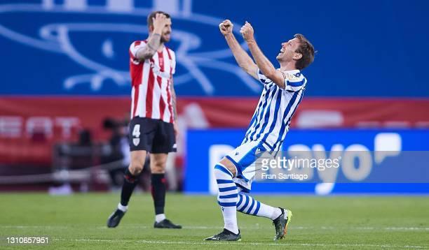 Nacho Monreal of Real Sociedad celebrates after the Copa Del Rey Final match between Real Sociedad and Athletic Club at Estadio de La Cartuja on...