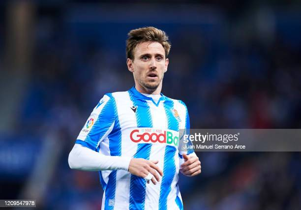 Nacho Monreal of Real Sociedad reacts during the Liga match between Real Sociedad and Real Valladolid CF at Estadio Anoeta on February 28 2020 in San...