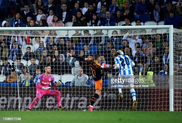 Nacho Monreal of Real Sociedad scoring his team's second goal during the Liga match between Real Sociedad and Valencia CF at Estadio Anoeta on...