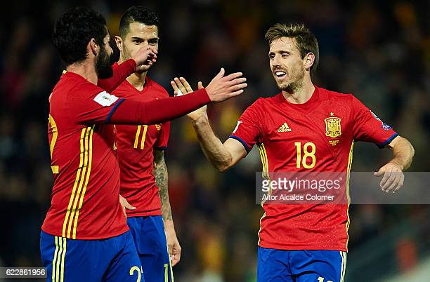 Nacho Monreal of Spain celebrates after scoring during the FIFA 2018 World Cup Qualifier between Spain and FYR Macedonia at on November 12 2016 in...