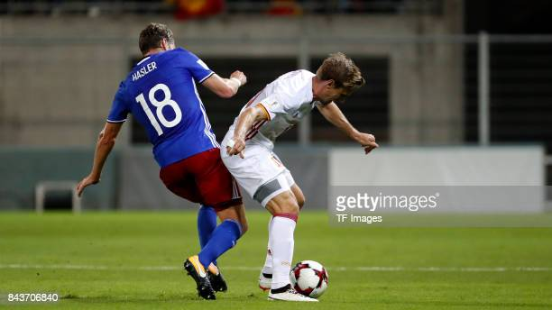 Nacho Monreal of Spain controls the ball during the FIFA 2018 World Cup Qualifier between Liechtenstein and Spain at Rheinpark Stadion on September 5...