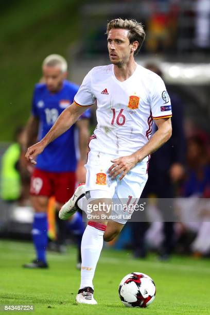 Nacho Monreal of Spain in action during the FIFA 2018 World Cup Qualifier between Liechtenstein and Spain at Rheinpark Stadion on September 5 2017 in...