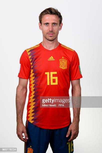 Nacho Monreal of Spain poses for a portrait during the official FIFA World Cup 2018 portrait session at FC Krasnodar Academy on June 8 2018 in...