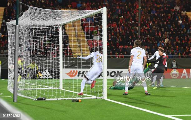 Nacho Monreal scores the 1st Arsenal goal during UEFA Europa League Round of 32 match between Ostersunds FK and Arsenal at the Jamtkraft Arena on...