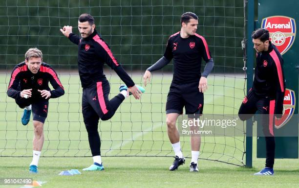 Nacho Monreal Sead Kolasinac Granit Xhaka and Mesut Ozil of Arsenal during an Arsenal Training session ahead of their Europa League semifinal...