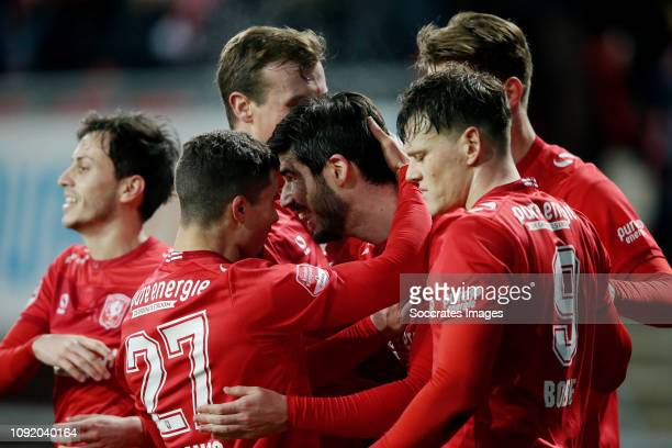 Nacho Monsalve of FC Twente Celebrates 2-0 with Rafael Ramos of FC Twente, Tom Boere of FC Twente during the Dutch Keuken Kampioen Divisie match...
