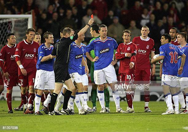 Nacho Novo of Rangers receives a red card during the Scottish Premier League Aberdeen v Rangers game at Pittodrie Stadium on May 22 2008 in Aberdeen...