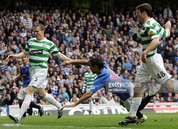 Nacho Novo of Rangers scores during the Scottish Premier League match between Rangers and Celtic at Ibrox Stadium on October 20 2007 in Glasgow,...
