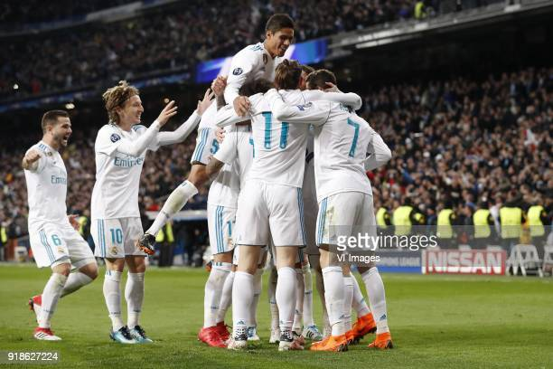Nacho of Real Madrid Luka Modric of Real Madrid Raphael Varane of Real Madrid Lucas Vazquez of Real Madrid Marcelo of Real Madrid Gareth Bale of Real...