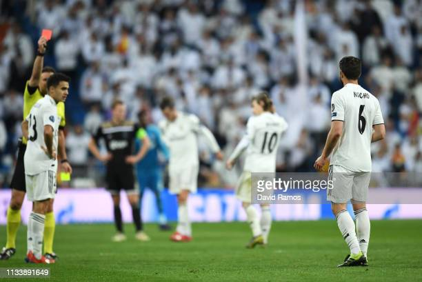 Nacho of Real Madrid reacts as he is sent off during the UEFA Champions League Round of 16 Second Leg match between Real Madrid and Ajax at Bernabeu...