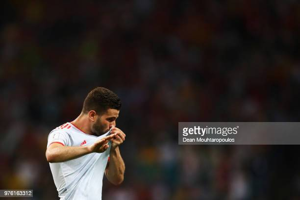 Nacho of Spain celebrates after scoring his team's third goal during the 2018 FIFA World Cup Russia group B match between Portugal and Spain at Fisht...