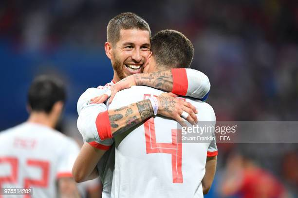 Nacho of Spain celebrates after scoring his team's third goal with team mate Serigo Ramos during the 2018 FIFA World Cup Russia group B match between...