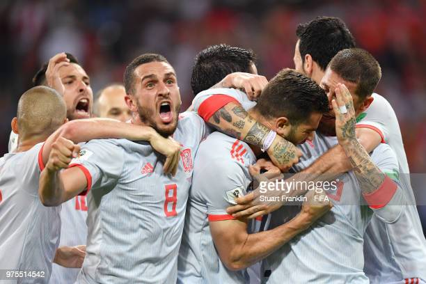 Nacho of Spain celebrates with team mates after scoring his team's third goal during the 2018 FIFA World Cup Russia group B match between Portugal...