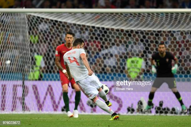 Nacho of Spain scores his side's third goal during the 2018 FIFA World Cup Russia group B match between Portugal and Spain at Fisht Stadium on June...