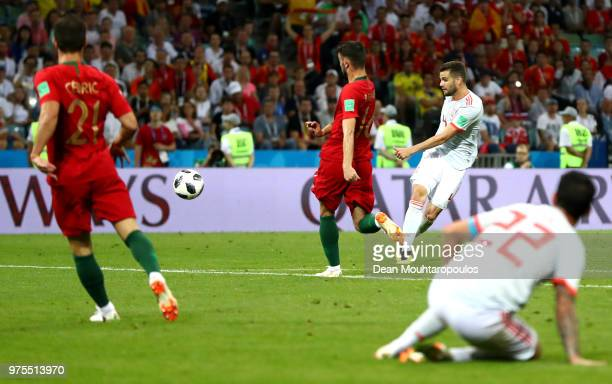 Nacho of Spain scores his team's third goal during the 2018 FIFA World Cup Russia group B match between Portugal and Spain at Fisht Stadium on June...