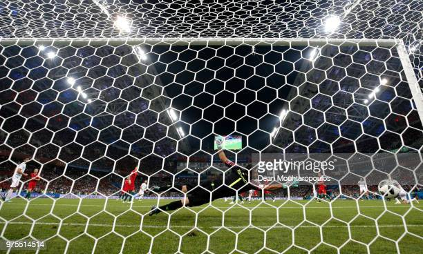 Nacho of Spain scores his team's third goal past Rui Patricio of Portugal during the 2018 FIFA World Cup Russia group B match between Portugal and...