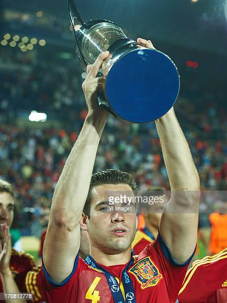 Nacho of Spain U21 with cup during the UEFA Euro U21 final match between Italy U21 and Spain U21 on June 18 2013 at the Teddy stadium in Jerusalem...