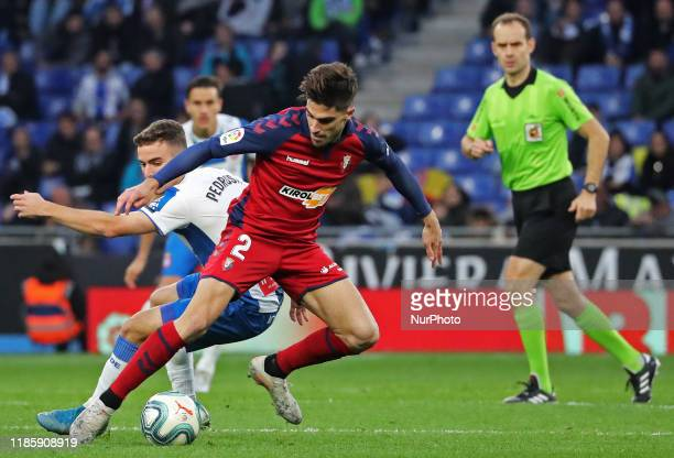 Nacho Vidal and Adria Pedrosa during the match between RCD Espanyol and Club Atletico Osasuna corresponding to the week 15 of the Liga Santander on...