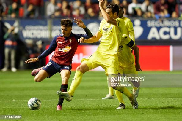 Nacho Vidal and RAlbiol in action during the La Liga Santander match between CA Osasuna and Villarreal CF at the Sadar stadium in Pamplona Final...