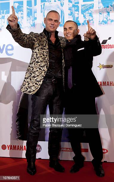 Nacho Vidal congratulates Jorge Lorenzo during the 'Jorge' premiere at Capitol Cinema on December 16 2010 in Madrid Spain