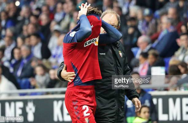 Nacho Vidal injured during the match between RCD Espanyol and Club Atletico Osasuna corresponding to the week 15 of the Liga Santander on 01rst...