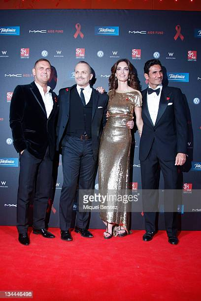 Nacho Vidal Miguel Bose Eugenia Silva and Oscar Higares attend the photocall for the Gala Against AIDS during Worlds AIDS Day at the W hotel on...
