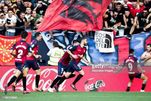 Nacho Vidal of CA Osasuna Estupinan of CA Osasuna David Garcia of CA Osasuna Torres of CA Osasuna celebrates goal 22 during the La Liga Santander...