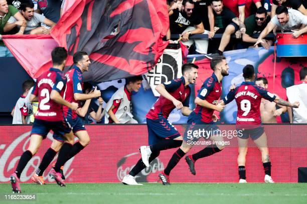 Nacho Vidal of CA Osasuna Estupinan of CA Osasuna David Garcia of CA Osasuna Torres of CA Osasuna Chimy Avila of CA Osasuna celebrates goal 22 during...