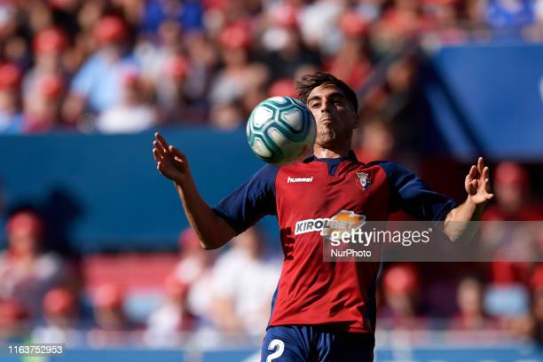 Nacho Vidal of Osasuna controls the ball during the Liga match between CA Osasuna and SD Eibar at El Sadar Stadium on August 24 2019 in Pamplona Spain