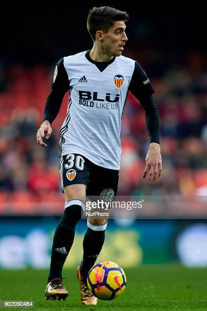 Nacho Vidal of Valencia CF with the ball during the La Liga game between Valencia CF and Girona FC at Mestalla on January 6 2018 in Valencia Spain