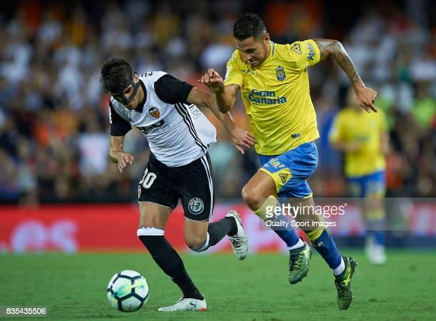 Nacho Vidal of Valencia competes for the ball with Vitolo of Las Palmas during the La Liga match between Valencia and Las Palmas at Estadio Mestalla...
