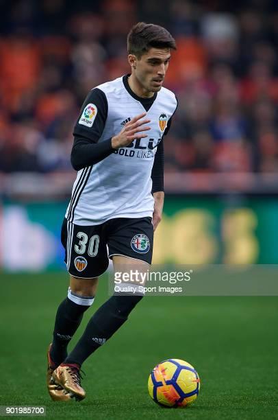 Nacho Vidal of Valencia in action during the La Liga match between Valencia and Girona at Mestalla stadium on January 6 2018 in Valencia Spain