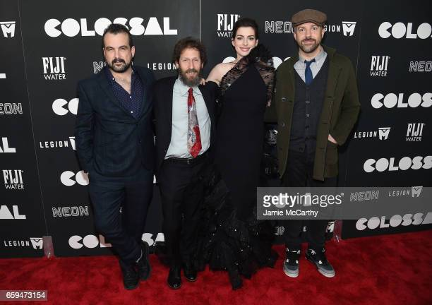 Nacho Vigalondo Tim Blake Nelson Anne Hathaway and Jason Sudeikis attend the 'Colossal' premiere at AMC Lincoln Square Theater on March 28 2017 in...
