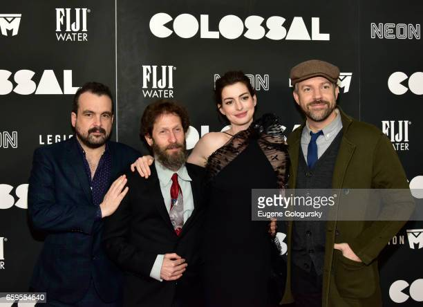 Nacho Vigalondo Tim Blake Nelson Anne Hathaway and Jason Sudeikis attend The Premiere of 'Colossal' CoHosted by FIJI Water at AMC Lincoln Square...