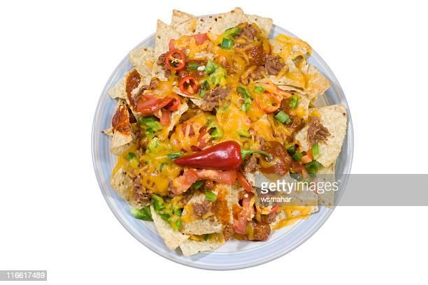 nachos on white - nachos stock photos and pictures