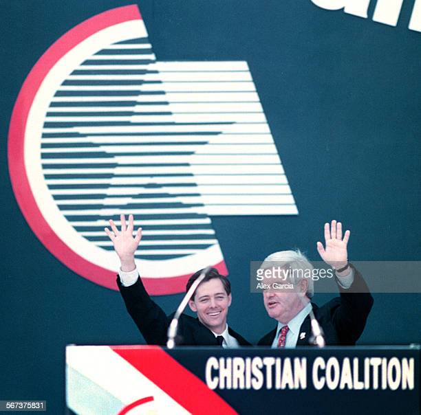 NAchristreed0814AAG–Ralph Reed of the Christian Coalition and House Speaker Newt Gingrich wave to the crowd together at the Christian Coalition Faith...