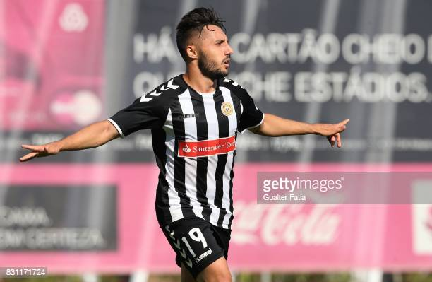 Nacional forward Joao Camacho celebrates after scoring a goal during the Segunda Liga match between SL Benfica B and CD Nacional at Caixa Futebol...