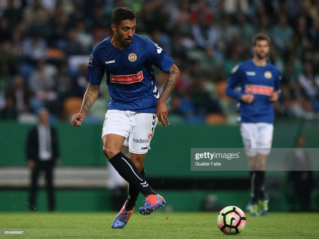 Nacional's defender Cesar from Brazil in action during the Primeira Liga match between Sporting CP and CD Nacional at Estadio Jose Alvalade on March 18, 2017 in Lisbon, Portugal.