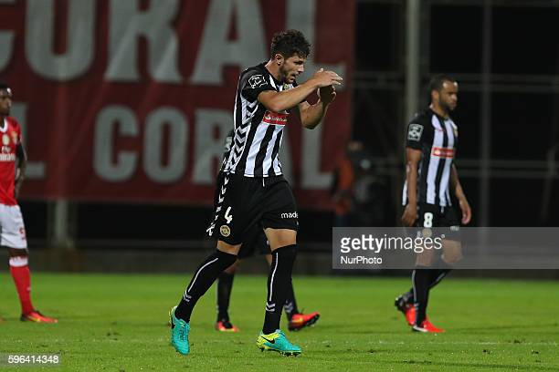 Nacional's Portuguese defender Tobias Figueiredo celebrates after scoring a goal during Premier League 2016/17 match between CD Nacional and SL...