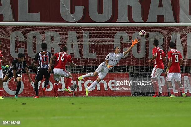 Nacional's Portuguese defender Tobias Figueiredo score a goal with Benfica's Brazilian goalkeeper Julio Cesar during Premier League 2016/17 match...