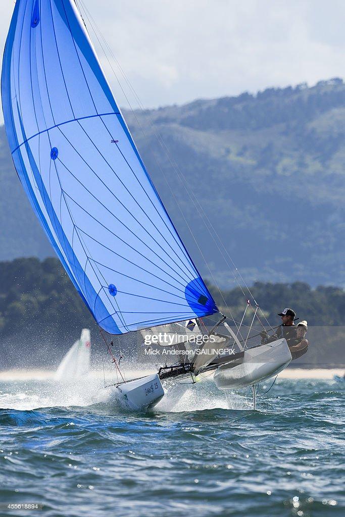 Nacra 17 - AUS64 - Darren BUNDOCK / Nina CURTIS in action during Day 6 of the 2014 ISAF Sailing World Championships on September 17, 2014 in Santander, Spain.