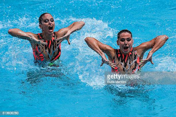 Nada Daabousova and Jana Labathova of Slovakia compete in the Duets Free Routine - First Round during the FINA Olympic Games Synchronised Swimming...