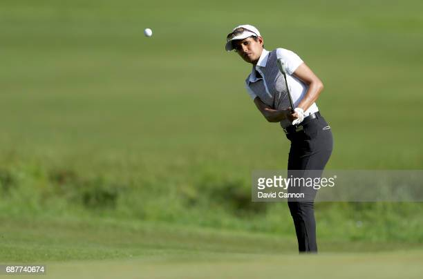 Nada Munchetty the television presenter plays a shot during the proam for the 2017 BMW PGA Championship on the West Course at Wentworth on May 24...