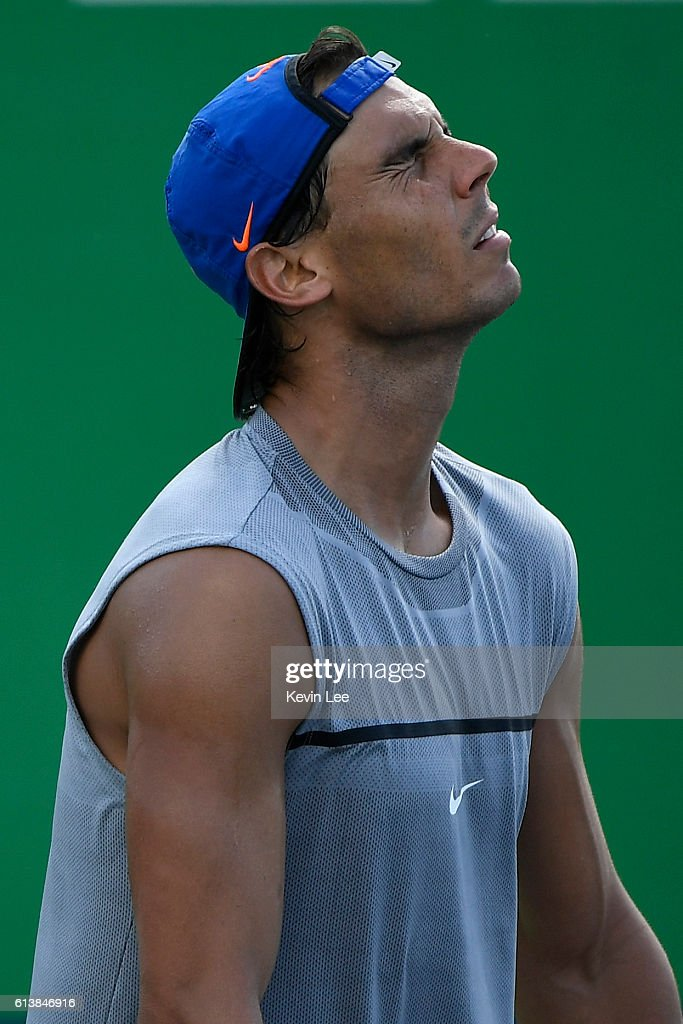 Nadal Rafael of Spain reacts during a practice session at ATP Shanghai Rolex Masters 2016 on Day 2 at Qi Zhong Tennis Centre on October 10, 2016 in Shanghai, China.