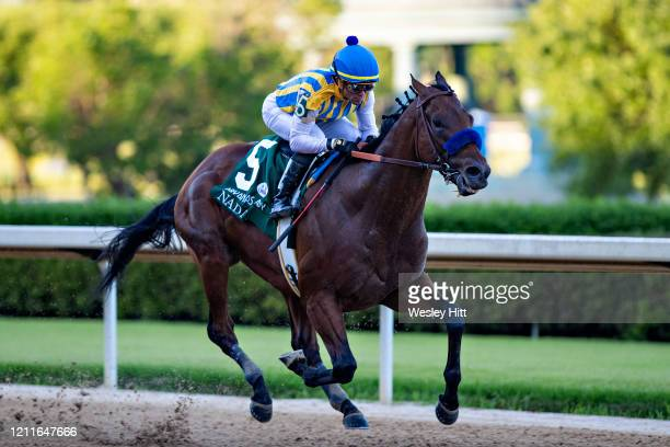 Nadal, with Jockey Joel Rosario, wins the The Arkansas Derby during the Covid-19 Pandemic on Derby Day at Oaklawn Racing Casino Resort on May 2, 2020...