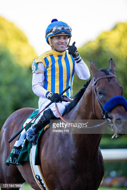 Nadal with Jockey Joel Rosario wins the The Arkansas Derby during the Covid19 Pandemic on Derby Day at Oaklawn Racing Casino Resort on May 2 2020 in...