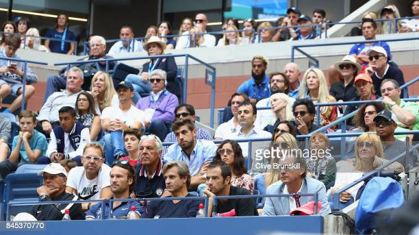 Nadal's box watches Rafael Nadal of Spain play against Kevin Anderson of South Africa during the Men's Singles finals match on Day Fourteen of the...