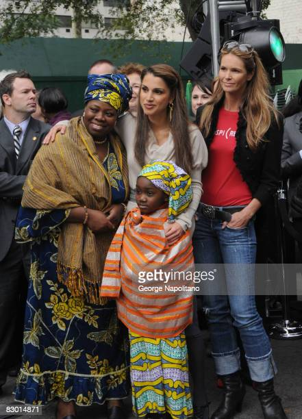 """Nadama, Queen Rania of Jordan, Hind and Elle MacPherson attend the Global Call to Action Against Poverty's """"In My Name"""" campaign launch at the Dag..."""